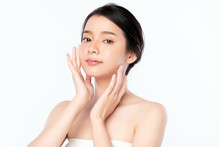 Beautiful Young Asian Woman With Clean Fresh Skin. Face Care, Facial Treatment, Cosmetology, Beauty And Healthy Skin And Cosmetic Concept, Woman Beauty Skin Isolated On White Background