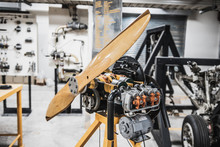 Prototype Of Aircraft Turbo Prop Engine Displayed In Aircraft Maintenance Classroom For Studying