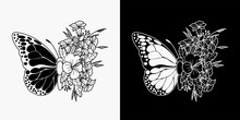 Butterfly And Flower Tattoos, Illustration Of Merging Butterflies And Flowers, Monoline Design