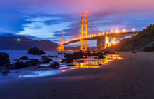 Golden Gate Bridge By Night In...