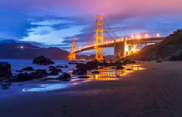 Golden Gate bridge by night in San Francisco - USA