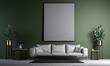 Leinwanddruck Bild - Modern interior of living room design and green wall background