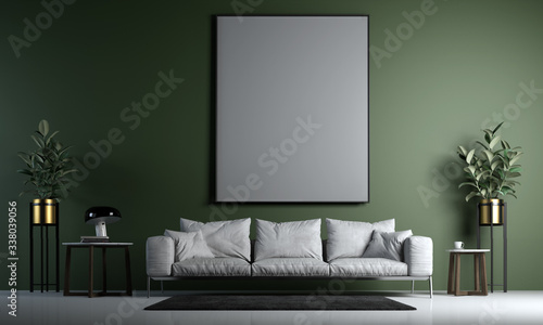 Obraz Modern interior of living room design and green wall background - fototapety do salonu