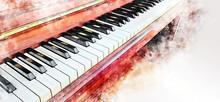 Abstract Colorful Piano Keyboa...