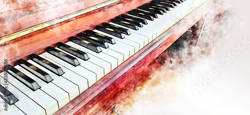abstract-colorful-piano-keyboard-on-watercolor-illustration-painting-background