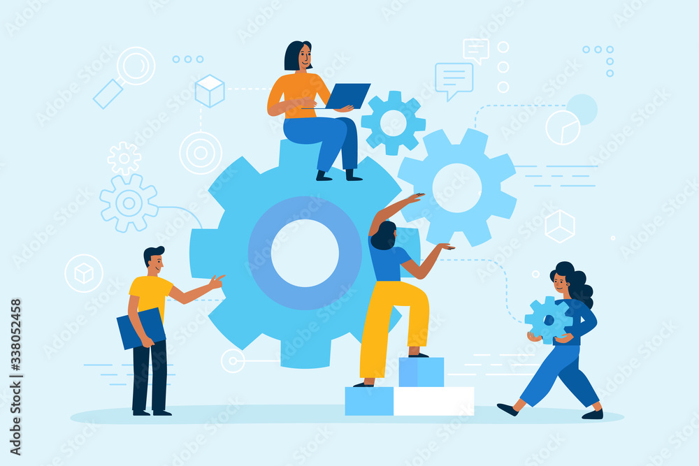 Fototapeta Vector illustration in simple flat style - teamwork and development concept - people holding  abstract geometric shapes and gears