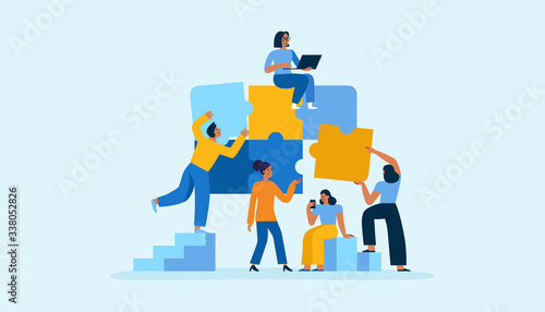 Vector illustration in simple flat style - teamwork and development concept - pe Canvas-taulu