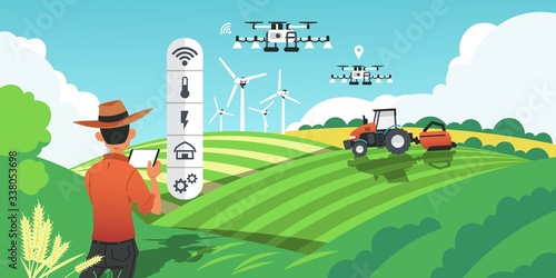 Smart farming. Growing crops and harvesting plants with futuristic technologies, drones on field and GPS vehicles. Vector image cartoon smart agro industry concept, future agricultural innovations