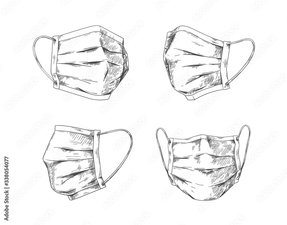 Fototapeta Breathing masks. Hand drawn medical face mask, flu pneumonia and coronavirus protection and prevention. Vector doodle respiratory mask graphic design for health pollution protect