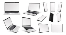 Realistic Gadgets. Laptop, Tab...