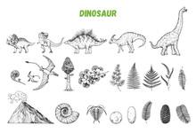 Dinosaurs Hand Drawn Sketch. V...