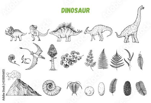 Dinosaurs hand drawn sketch Wallpaper Mural