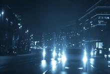 Traffic Jam On Highway Night /...