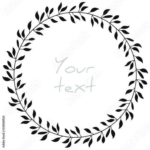Vector abstract foliate wreath; decorative frame for greeting cards, invitations, wedding cards, posters, banners, web design Tapéta, Fotótapéta