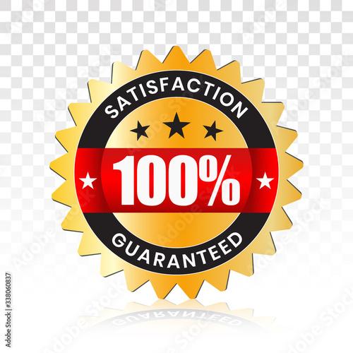 Fotografia 100 percent customer satisfaction seal with transparent background