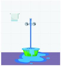 Water Waste From Running Tap. ...