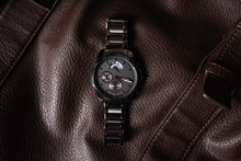 Luxury Fashion Watch  Closeup Automatic Men Watch With Stainless Steel Wrist Luxury Men's Watch. Watches Fine On A Leather Background In Studio Isolated