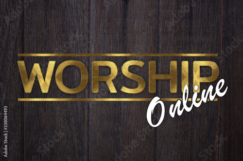 Tablou Canvas The word WORSHIP online concept written in gold texture on wooden background