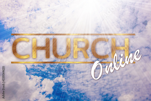 Fototapeta The word church online concept written in gold texture on sky background