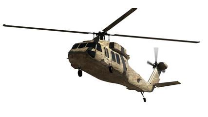 Vojni helikopter izoliran na bijeloj boji. Prikaz 3d. Ilustracija.