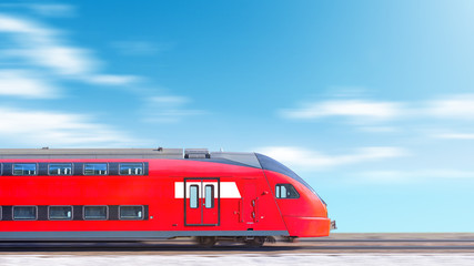 moderan vlak u pokretu glava automobila bočni pogled na zamagljenim oblacima nebo pozadina Prigradski dvospratni vlak koji se brzo kreće Široka panorama krajolik natpis za dizajn