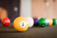 Billiard Balls On A Green Table