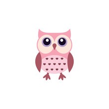 Cute Owl Colorful Cartoon. Owlet In Pink Adorable Funny Illustration.