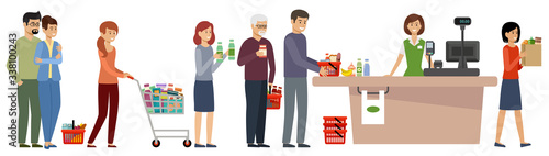 Grocery store queue. People with shopping carts and basket with food #338100243