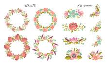 Big Set Of Floral Design Elements - Wreath And Flower Bouquets