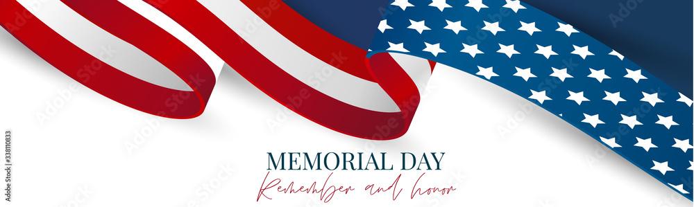 Fototapeta Memorial Day banner, website or newsletter header. Background with American national flag ribbon. United States of America holiday celebration concept. Vector illustration.