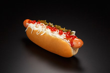 Hot Dog With Sauerkraut, Cream...