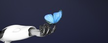 Robot Arm With Butterfly,3d Render.