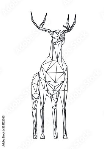 abstrakcyjna-ilustracja-jelenia-za-pomoca-wielokatnych-linii-ukladajacych-sie-w-trojkaty