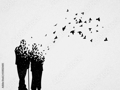 Silhouette of elderly couple and flying birds Canvas Print