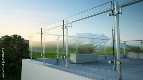 Foto Modern stainless steel railing with glass panel and landscape mountain, 3D illus