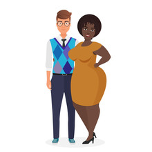 Mixed Race Atypical Weird Interracial Couple Character Flat Vector Illustration. Portrait Caucasian Thin Guy And Black African American Puffy Fat Girlfriend In Elegant Dress. Unequal Marriage
