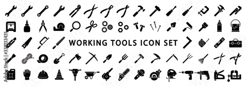 Valokuvatapetti Big Set of Working Tools Icon (Flat Silhouette Version)