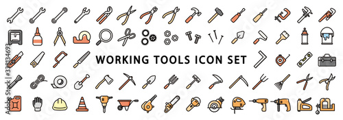 Obraz Big Set of Working Tools Icon - fototapety do salonu