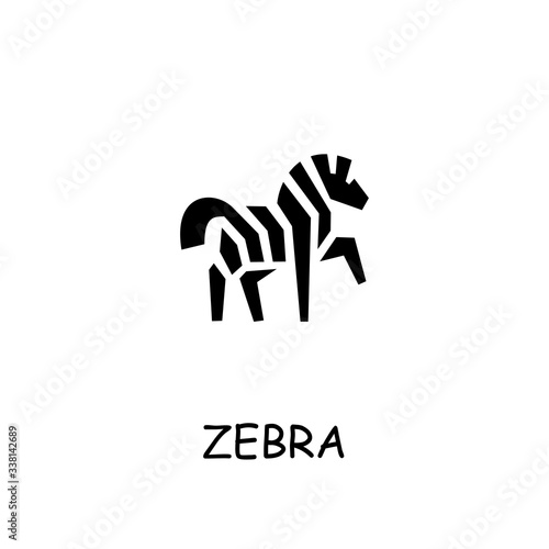 Photo Zebra flat vector icon