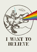 I Want To Believe. Jesus Riding T-rex. Dinosaur Is Puking Rainbow. UFO Saucer Flying In The Sky. Funny Jesus On Dino T-shirt Print.