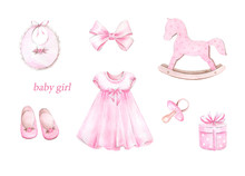 Newborn Baby Girl Clipart Set..Watercolor Hand Drawn Illustrations With  Elements For Baby Shower Isolated On White Background.