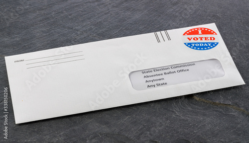 Photo Envelope containing voting ballot papers being sent by mail for absentee vote in