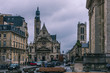Church of Saint Etienne du Mont, cinematografic and vintage style, drmatic clouds and sad day