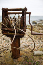 Old Rusty Winch For Pulling Bo...