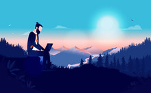 Remote Work From Anywhere - Man Sitting Alone In Nature Wilderness Working On Laptop. Beautiful View With Sun And Mountains In Background. Independent, Freelance, Solitude And Business Concept. Vector