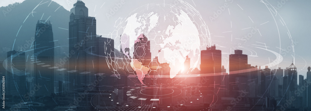 Fototapeta Globe Global business technology concept of modern city background. Website header.