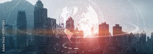 Globe Global business technology concept of modern city background. Website header. - 338167884