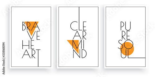 Fototapeta Brave heart, clear mind, pure soul, vector. Scandinavian minimalist art design. Three pieces poster design. Wall art, art design, artwork. Modern wording design. Motivational, inspirational quote obraz