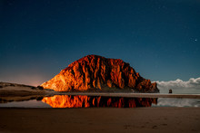 View Of Morro Rock On Morro Rock Beach During Sunset