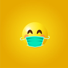 Emoji With Mouth Mask - Yellow Face  Wearing A Surgical Mask